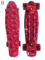 Wholesale quot New Hot Printing design plastic skate board longboards cruiser Red Skull