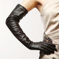 Wholesale 58cm long plain opera eveining first grade lamb skin top goat leather gloves black