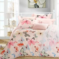 Wholesale Luxury Silk Bedspreads King Size - Luxury butterfly queen king size bedding sets pink quilt doona duvet cover sheets bed in a bag bedspreads bedsheets linen silk tencel bedclo