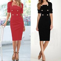 Cheap Brand New Fashion Women Dress Half Sleeve Double-breasted Pencil Dresses Knee-Length OL European Style Clothing Red Black