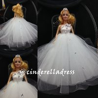real doll - 2015 real image white wedding suplies dresses dolls Clothes Luxury Princess Dress Wedding Dresses For Babie doll wedding party best gifts