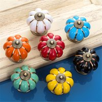 antique drawer pulls - Colorful Countryside Pumpkin Ceramic Door Drawer Cabinet Wardrobe Pull Handle Knobs Christmas Antique Drawer Handles