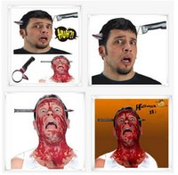 Wholesale Knife Bloody Nail Through Head Prank Practical Jokes Gag Halloween Party Horror Toy