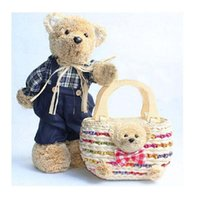 big bear beach - Striped need but straw bags drum bears beach bag Tactic bear handbag rattan wood handle Tote big shoulder bag animal V20G20