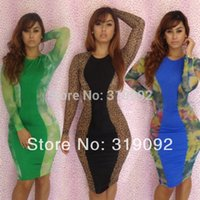 Cheap 2015 Hot Sale Ladies Green Blue Brown Celebrity Print Color Bandage Dress Bodycon Evening Club Party Sexy Slim Dreses S M L