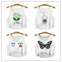 alien monkeys - FG1509 Summer Style Women Crops White Alien Butterfly Diamond Monkey Print T shirt Crop Top Summer Tee Camisetas Tops