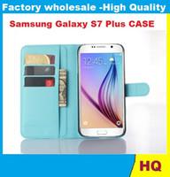 CALIENTE Lychee cubierta de la carpeta del soporte del cuero con la caja del titular de la tarjeta para el teléfono Samsung Galaxy S7 Plus móvil ENVÍO LIBRE 150PCS DHL