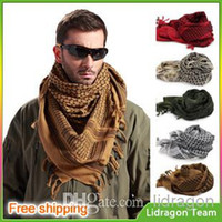 hijab - Factory sales New Military windproof Muslim Hijab Shemagh Tactical Desert Arabic Keffiyeh Scarf Cotton Wargame Scarf
