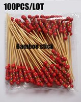 Wholesale Cocktail Forks Disposable - Wholesale-Free Shipping 100pcs lot Fruit Forks Creative Dessert Fork Bow String Bamboo Craft Cocktail Sign Hotel Party Supplies