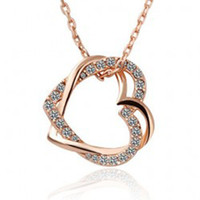 Wholesale Min order mix K white gold plated austrian crystal Double Heart Pendant Necklace
