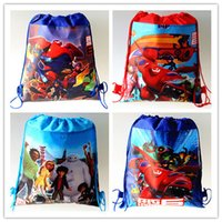 cute drawstring bag - 2015 D Cute Cartoon Big Hero Baymax Drawstring Bags Anna and Elsa Hello Kitty Despicable Me non woven fabrics string backpack School Bag
