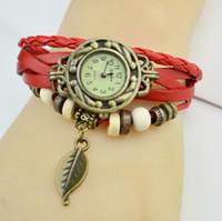 Precio de Cuero reloj pulsera corazón-Hot Nueva Infinity Relojes Weave Bracelet Relojes Lady Wrap Relojes Love Cross Dream Doble Corazón de cuero reloj Mix Style buena calidad
