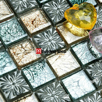 Wholesale Blue glass mosaic yellow glass wall tiles backsplash glass stone resin mosaic tile SGMT105 glass mosaics bathroom tiles