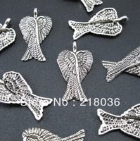 bali silver bracelet - Fashion Bali Style Tibetan Silver Angel Wing Charms Pendants Fit Charms Bracelet mm A291
