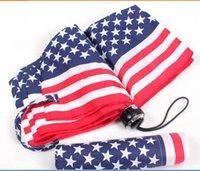american flag umbrella - New arrival drop folding American USA Flag fashion umbrellas UV folding sun umbrella rain women men