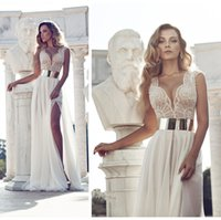christmas wedding dresses - 2014Real Image Julie Vino Beading Wedding Dress For Bridal Ivory V Neck A Line Floor length Side Slit Chiffon Bridal Dresses Christmas Dress