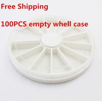 Wholesale 100PCS White Plastic Empty Wheel Round Box Case For Nail Art Gems Rhinestones Storage Case Holder small things