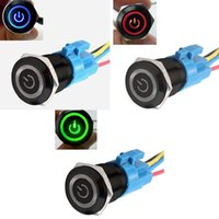 Cheap Latching or Momentary Black 19mm 12V Blue Green Red LED power&Angel Symbol Car Switch With 19MM 5 PINS socket Plug
