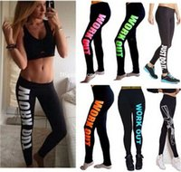 american sports works - Hot latest cotton leggings print work out letters sport women gym leggings fitness pants sexy slim winter leggings winter warm legging