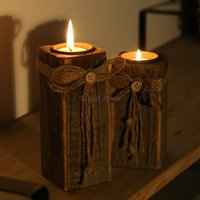antique wooden candlesticks - 7X6X15CM wedding decoration Antique wooden candlestick Party bar Dating Decoration candle holders