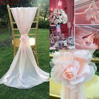 beautiful chic - 2015 White Blush Pink Chair Sashes Romantic D Flowers Chiffon Chair Covers Beautiful Wedding Decorations Chic Wedding Accessories