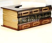 Wholesale Classic Wood Tissue Boxes Creative Book Shape Tissue box Covers Napkin Holder