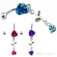 Wholesale Romantic Connected Rose Dangling Jewelry Belly Ring Navel Button J8