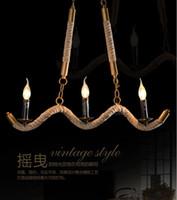 american emergency - European and American style retro rustic chandelier rope parlor restaurant chandelier lamp chandelier upscale bars villas