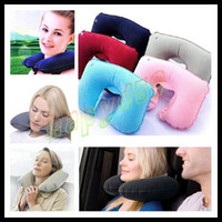 Wholesale Travel Sleeping Pillow car Air Inflatable Neck Pillow U Shaped Pillow Inflatable Neck Air Cushion Inflatable headrest can customized logo