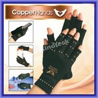 Wholesale Elastic Arthritis Gloves Copper Hands Compression Ache Pain Rheumatoid THERAPY Health Care Glove For Physiotherapy Burns Rehabilitation DHL