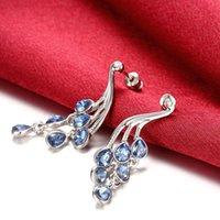 animal shapes peacock - New Fashion Women Lady Elegant Silver Plated Peacock Shape Blue Rhinestone Crystal Stud Earring