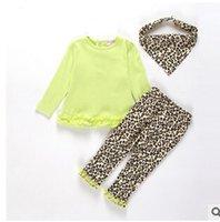 leopard headband - Baby Girl Clothes Sets Spring Long Sleeve T shirt Pants headband Kids Set leopard print Children Clothing Outfits set HR318