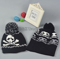 active human - Winter Cool Human Skull Caps Team Beanies Pom Sports Hat Knitted Caps White And Black Unisex Design