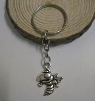 bee keychain - New Fashion Jewelry Key Chains Plating Silver Zinc Alloy Bee Key Rings Keychain Charms Metal Keyring