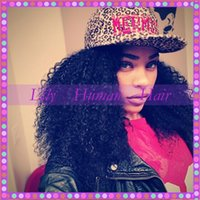 hand tied full lace wig - Black Women Afro Kinky Curly Wigs Hand Tied Full Lace Wig Glueless Peruvian Human Hair Lace Front Wigs Large Stock