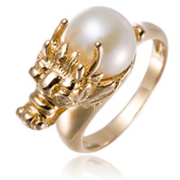 Wholesale 18K Yellow Gold Over Silver Freshwater Cultured Pearl Dragon Ring For Women Fashion Style