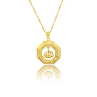 islamic necklace - Allah Pendant Jewelry hollow New Item Trendy Women Men Gift Sale K Real Gold Plated Rhinestone Islamic Necklaces Pendants