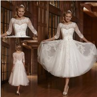 Wholesale Tea Length Spring Lace Wedding Dresses with Sheer Scoop Neck Illusion Long Sleeve Tulle A Line Short Beach Bride Gowns Cheap