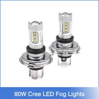 Wholesale 1 pair Super White H4 HB2 CREE W LED Projector Ultra Bright Heamdlamp Headlight Hi Lo Beam High Power Car Led Fog Lights