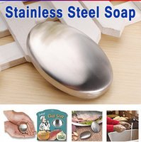 body soap bar - High Quality Reuse Stainless Steel Soap Oval Shape Deodorize Smell from Hands Retail Magic Eliminating Odor Kitchen Bar Odour Removing soap