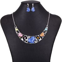 Wholesale New MS1504416Fashion Jewelry Sets Hight Quality Color Necklace Sets For Women Jewelry Silver Plate Crystal Unique Love Heart Design