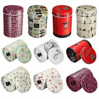 Wholesale Tin plate Double cover small cylinder Tea Food Storage toothpick caddy Tin canister Boxes x cm