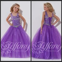 Wholesale Chic Pageant Dresses Girls Square Ball Gown Flower Girl Purple Tulle Floor Length With Beading Lace Up Flower Girl Dress