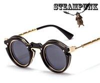 Wholesale 2015 New round brand Sunglasses men punk metal gold sun lenses frames vintage party shades UV400 sunnies women STEAM PUNK