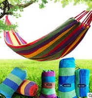 Wholesale 2016 Outdoor Canvas hammock leisure swing hammock Thick canvas color stripe camping hammock