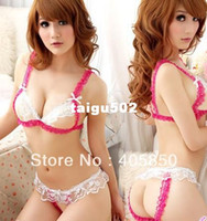 Wholesale New Sexy lingerie RED WHITE LACE OPEN FRONT BRA G STRING set Sleepwear Underwear Uniform Kimono Costume Free Size