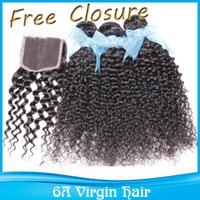 cyber monday - Cyber Monday Sale Kinky Curly Brazilian Human Virgin Hair Extensions Bundles With Free Closure Nature Color Dyeable Bleachable