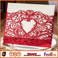 Wholesale Laser Cut Wedding Invitations Heart Hollow Invitations Card For Party Supply Free Printing CW5017