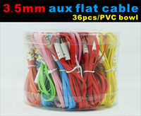 Wholesale 3 mm aux flat cable audio cable with pvc bowl case for speaker device connect mobile meter colorful