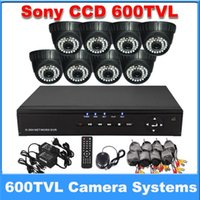 Wholesale 8 Channel DVR waterproof Indoor dome camera TVL CH H Surveillance DVR for DIY security CCTV Systems